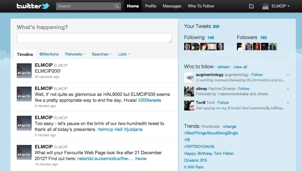 Image: ELMCIP's 200th tweet - follow @ELMCIP on Twitter!