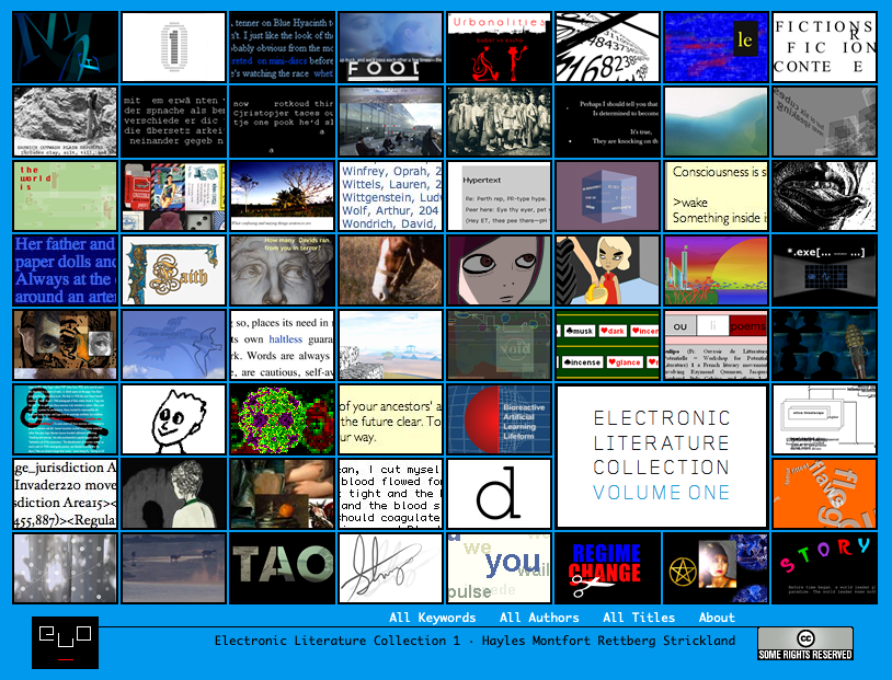 A screenshot from a collection of electronic literature