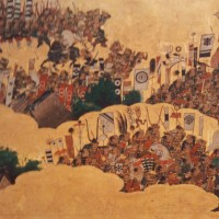 Scene from the folding screen depicting the Summer War of Osaka, Osaka Castle