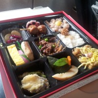 A Japanese bento box, containing assorted nom noms
