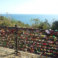 A fence covered with lovers' padlocks, Enoshima island