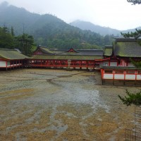 The Itsukushima Shrine on Miyajima at low tide