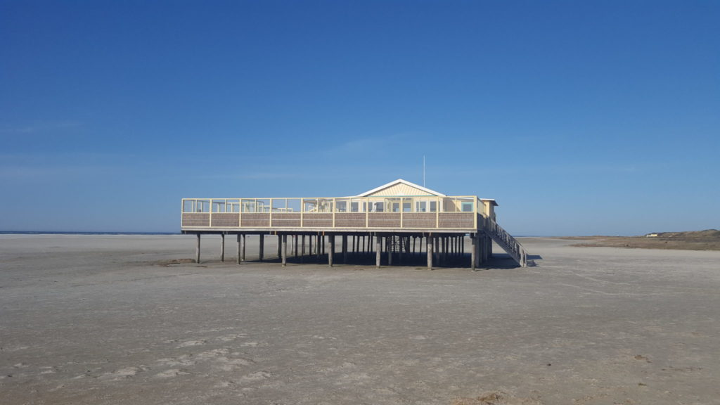 An abandoned beach pavilion on the Dutch Waddenzee island of Schiermonikoog