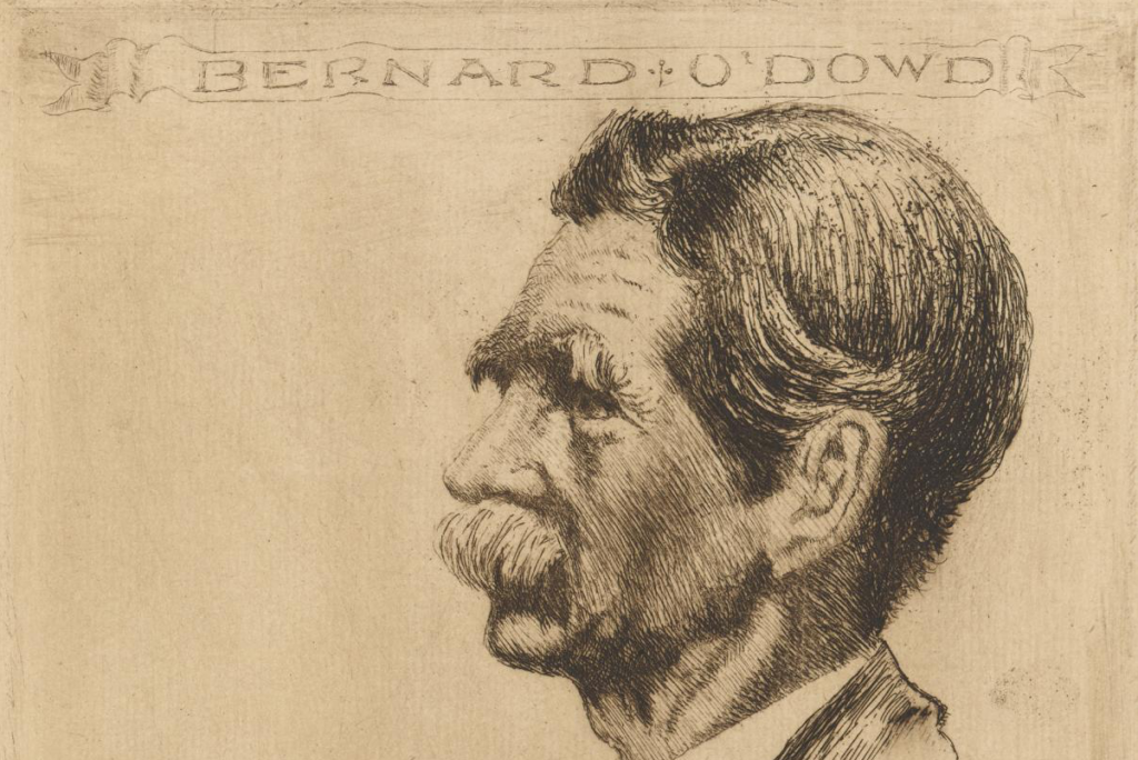 Bernard O'Dowd, in a 1924 etching by John Shirlow (detail) held by the National Gallery of Victoria. View the catalogue entry online.
