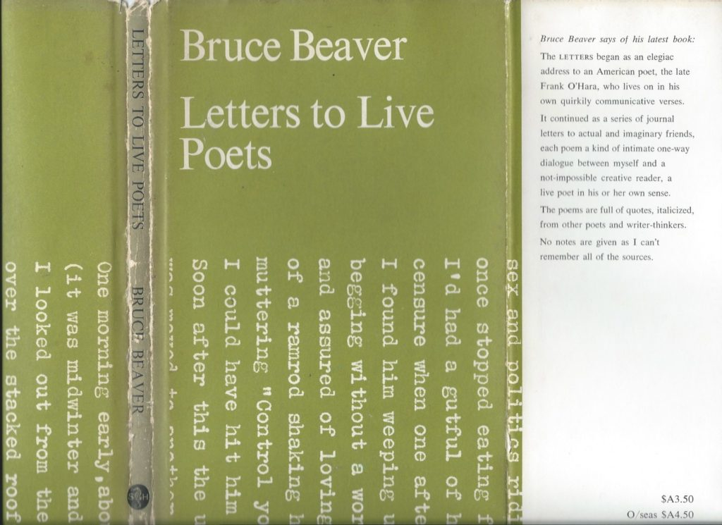Bruce Beaver published Letters to Live Poets in 1969, via South Head Press, a Sydney-based poetry publisher.